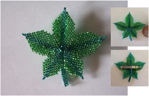 Beaded Leaf Pin - Spring by pinkythepink