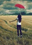 The Red Umbrella by larafairie