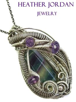 Fluorite and Amethyst Wire-Wrappped Pendant in SS by HeatherJordanJewelry