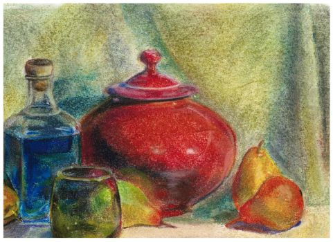 Still life with pots and glass by biningw