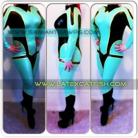 Latex catfish Latex cos play latex catsuit by VisualEyeCandy