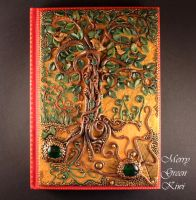 Polymer clay cover for notebook, Mysterious forest by MerryGreenKiwi