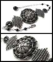 woven silver and onyx bracelet by annie-jewelry