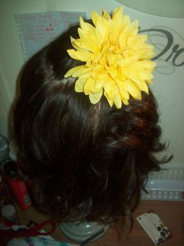 Yellow Flower hair bow by CheriesBowsNThings
