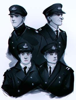 Titanic Officer Sketches by FallonBeaumont