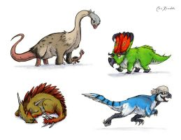 Fluffy Dinos - Colored by Monster-Man-08
