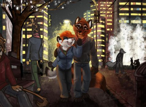 COMMISSION: Ferret and raccoon walk in town by Miu3