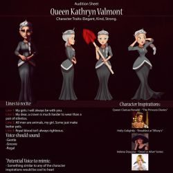 Queen Kathryn Audition Sheet by IsaiahStephens