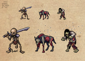 Pixel art zombie, skeleton and undead dog by RGBfumes