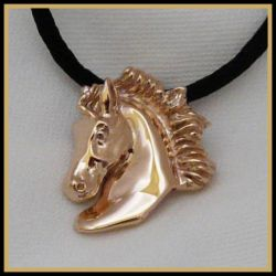 Horse Pendant Rose Silver Othello Friesian by DragonsFlyDesigns