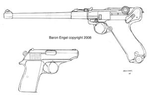 Luger artillery and Walther PPK by Baron-Engel