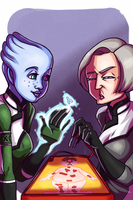 Liara and Dr Chakwas Play Board Games by leeny-pie