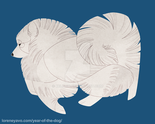 Year of the Dog - Japanese Spitz by Kelgrid