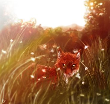 Fox among Flowers by ColacatintheHat