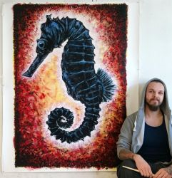 Large SeaHorse splatter painting by AtomiccircuS