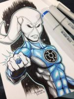Blue Lantern Saint Walker by ReyAcevedoArt