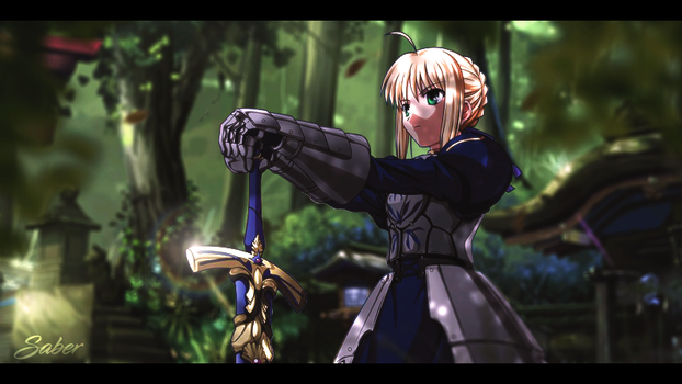 Saber in the Forest by Doylism