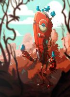 Red Bot and Blue Birds by RM-WINCH