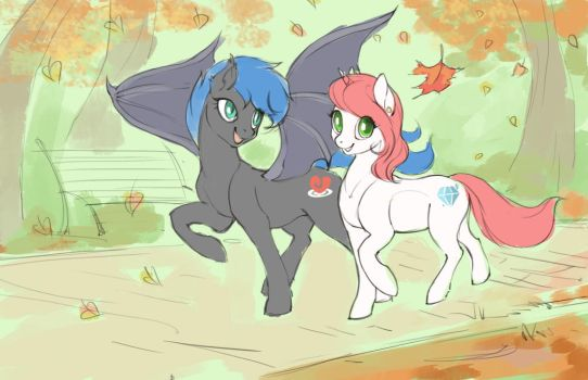 Walking on the park by Larest
