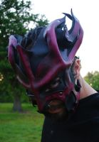 Crimson Great Dragon Leather Mask 2.0 by Epic-Leather