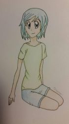 Sitting Turquoise Girl by AttackFly