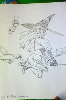 Inktober: 19 Technology witch by Blooding424