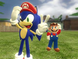 Mario and Sonic best friends by ErichGrooms3