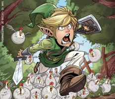 Link vs Chickens by jennyisdrawing