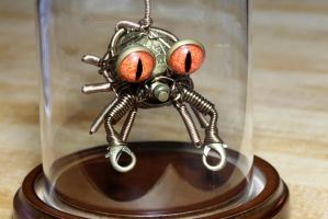 Steampunk Crab Sculpture in a Glass Dome Display by CatherinetteRings