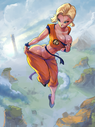 Android 18 wearing Krillin clothes by cutesexyrobutts