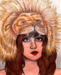 Lion Head Girl Painting by ChelseaFerranti