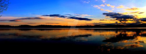 Late evening on the Lake of Menteith (Panorama) by Crannogphotographic