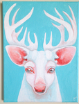 Creepy White Stag FACE by AngryPotato