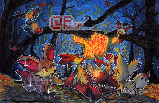 Poke Days: Fennekin Family by Pixelated-Takkun