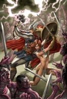 Thor and Red Sonja by caiocacau