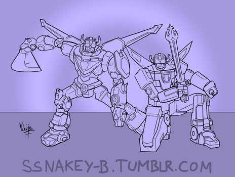 Sketch challenge: Voltron meets Voltron by Neije