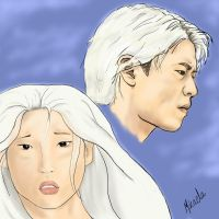 Whitehaired asians by Abazi