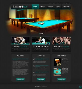 Billiard Club Website Mockup by YesIMaDesigner