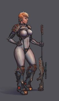 Sniper. Sci-fi character design (colored) by kastep