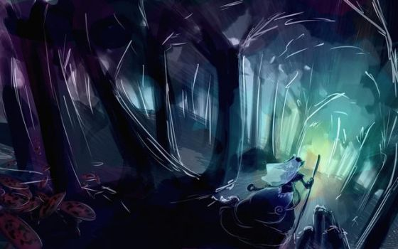 Speed painting forest by Cyraelh