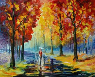 Fall Romance by Leonid Afremov by Leonidafremov