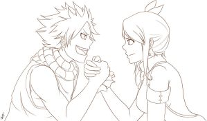 Lineart - Fanart Lucy and Natsu - Fairy Tail by Nicky-Milky