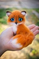 Fox Needle Felted Miniature by Lyntoys