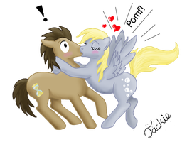 Derpy surprises Doctor Whooves with a kiss by EbonyPegasus