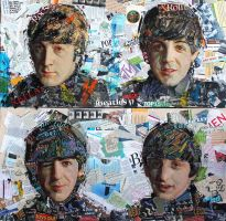 Famous faces. Picture1.The Beatles. collage, oil by Shatilov