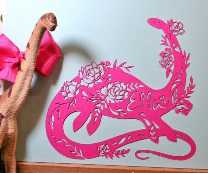 Pretty Dinosaur PAPER CUTTING by Snowboardleopard