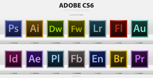 Adobe CS6 Applications Icons (PSD Format) by anhgreen123