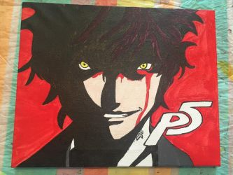 Persona 5 Protagonist Painted Canvas by dewildbunbun
