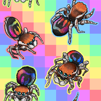 Rainbow Jumping Spider tiled bg by RacieB