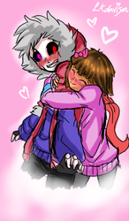 Long time no hug! Pyro and Frisk by sonicfangirl666